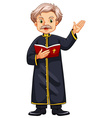 Priest preaching from bible vector image vector image