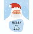santa claus wearing a protective face mask against vector image vector image