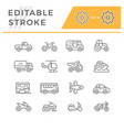 set line icons of transport vector image vector image