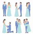 Set of bride and groom vector image vector image