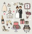 set of cartoon doodle wedding vector image vector image