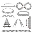 set of new railroad curves perspectives turns vector image vector image
