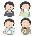set of people drinking vector image