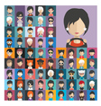 set people icons in flat style with faces 19 a vector image vector image