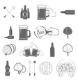 set two-color beer craft icons vector image