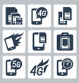 simcards 4g 5g and mobile communication related vector image