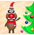 Smiling Christmas deer vector image