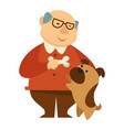 smiling grandpa giving a bone to his small dog vector image vector image