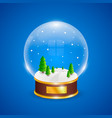 snow globe with christmas trees on blue background vector image vector image