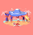 summer season vacation concept tiny people carry vector image vector image