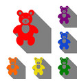 teddy bear sign set of red orange vector image vector image