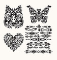 Tribal set with heart wolf butterfly and ethnic
