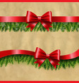 two red ribbon and fir tree vector image vector image