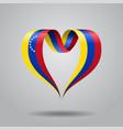 venezuelan flag heart-shaped ribbon vector image vector image