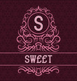 vintage label design template for sweet product vector image vector image