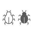 virus line and glyph icon security and internet vector image vector image