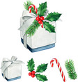 watercolor high quality christmas gift with holly vector image