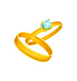 wedding or engagement two golden rings simple vector image
