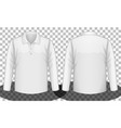 white long sleeves polo shirt front and back side vector image