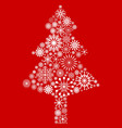 white snowflake christmas tree on red background vector image