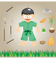 with farmers on the farm cartoon vector image vector image
