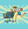 woman bought a groom shopping cart trolley sale vector image vector image