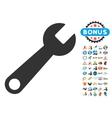 Wrench Icon With 2017 Year Bonus Symbols vector image vector image