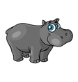Cute cartoon baby hippo with blue eyes vector image