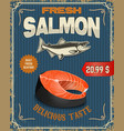 Fresh salmon Salmon steak in retro vector image