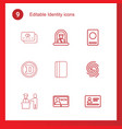 9 identity icons vector image vector image