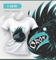 abstract modern t-shirt print design with crow vector image vector image