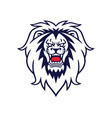 angry lion roaring logo design template vector image vector image