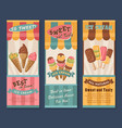 banners of ice cream for cafe vector image vector image
