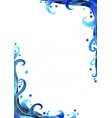 blue marine color ocean wave style border vector image
