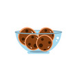 bowl with chocolate cookies sweet confectionery vector image