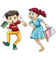 Boy with money and girl with shopping bag vector image vector image