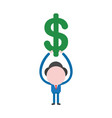 businessman holding up dollar vector image vector image