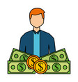businessman with money banknote and coins vector image vector image