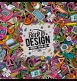 cartoon doodles design card artistic funny border vector image vector image