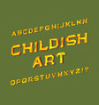 childish art typeface graffiti font isolated vector image