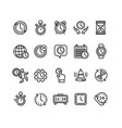 clock signs black thin line icon set vector image