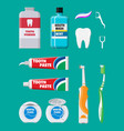 dental cleaning tools oral care hygiene products vector image