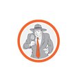 Detective Holding Magnifying Glass Circle Retro vector image vector image