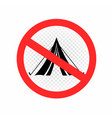 do not set camp tent sign icon vector image vector image