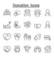 donation icons set in thin line style vector image vector image