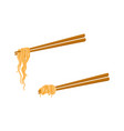 flat asian noodle wok udon on sticks set vector image vector image