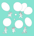 flat monochrome kids with air balloons set vector image vector image