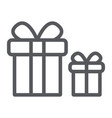 gift boxes line icon package and surprise vector image vector image