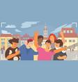 group selfie flat composition vector image