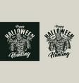 halloween vintage creepy badge vector image vector image